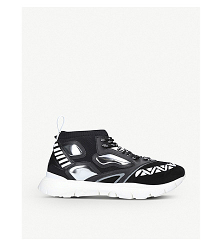 VALENTINO Heroes Reflex suede-effect leather trainers (Black