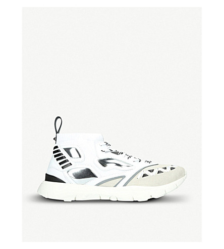 VALENTINO Heroes Reflex suede-effect leather trainers (White