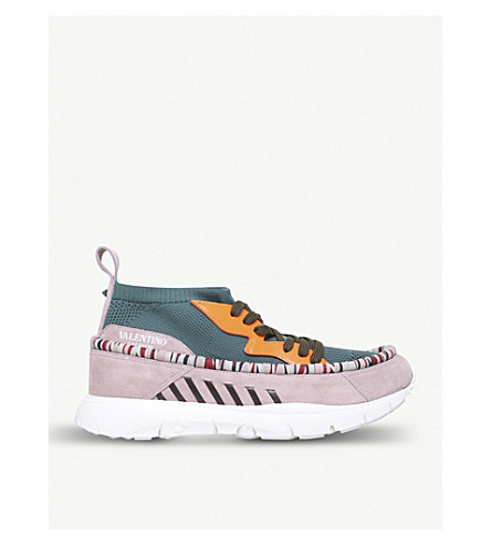 VALENTINO Heroes Tribe stretch-knit and suede trainers (Khaki