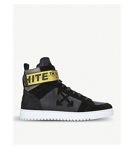 OFF-WHITE C/O VIRGIL ABLOH Grosgrain-trim leather and suede high-top trainers (Black