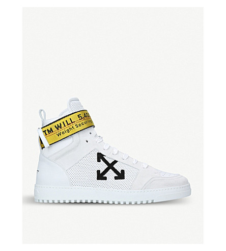 OFF-WHITE C/O VIRGIL ABLOH Grosgrain-trim leather and suede high-top trainers (White