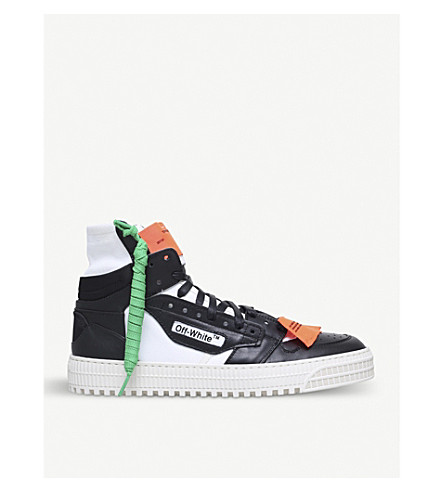 OFF-WHITE C/O VIRGIL ABLOH Low 3.0 canvas and leather hi-top trainers (Blk/white