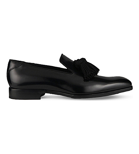 JIMMY CHOO Foxley tassel calf leather and satin loafers (Black