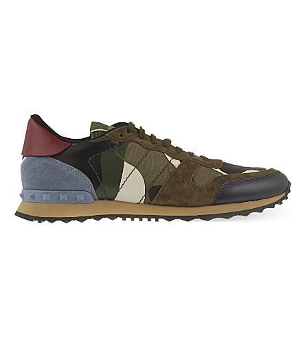 VALENTINO Camouflage-print leather trainers (White/comb