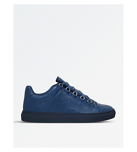 BALENCIAGA Arena leather low-top trainers (Mid+blue
