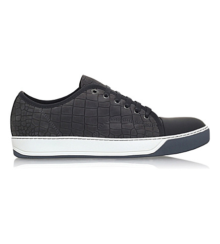 LANVIN Croc-embossed leather trainers (Grey