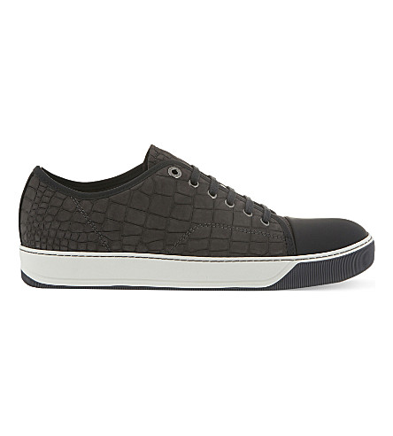 LANVIN Croc-embossed leather trainers (Grey/dark