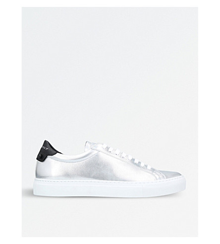 GIVENCHY Knot metallic-leather trainers (Silver