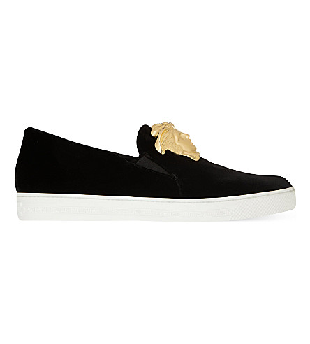 VERSACE Senator velvet skate shoes (Black