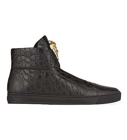 VERSACE Senator croc leather high-tops (Black
