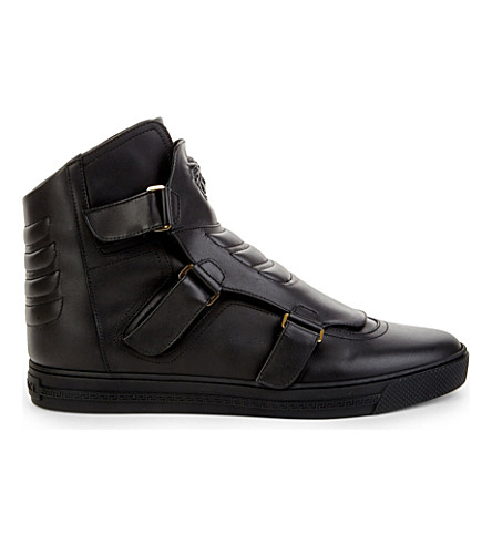 VERSACE Triple-strap leather high-top trainers (Black