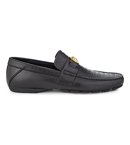 VERSACE Greco medusa leather driving shoes (Black