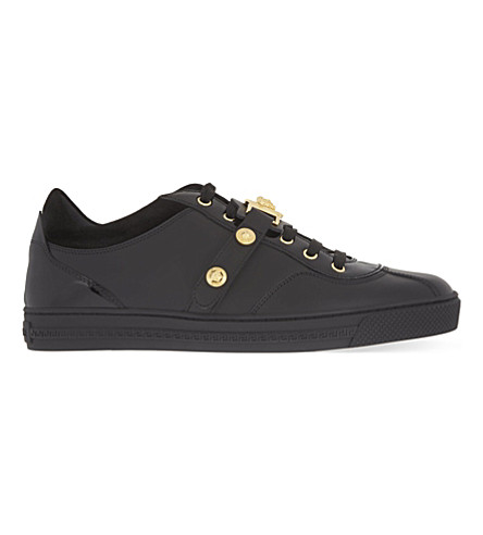 VERSACE Medusa strap leather trainers (Black