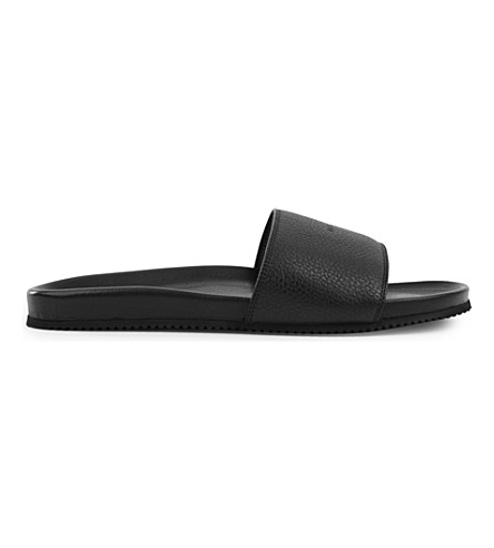 BUSCEMI Logo-embossed leather pool slides (Black