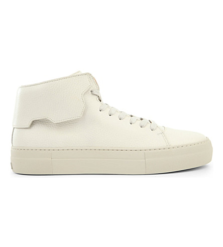BUSCEMI 90mm high-top leather trainers (White