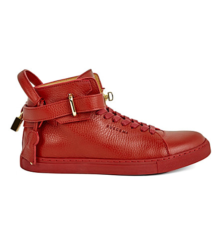 BUSCEMI 100mm padlock leather high-top trainers (Red