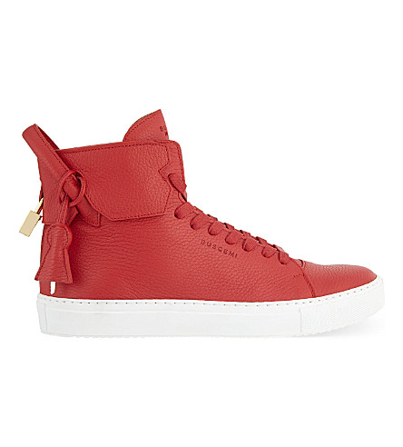 BUSCEMI 125mm padlock leather high-top trainers (Red