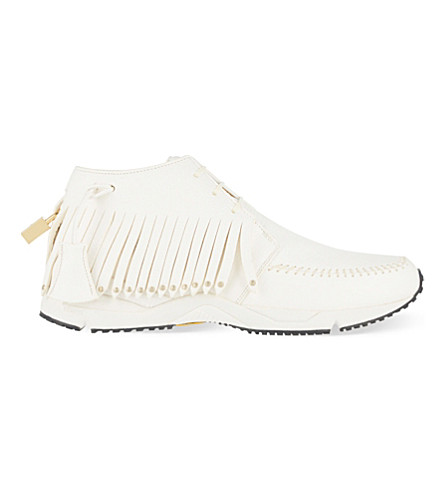 BUSCEMI Gladiator fringed leather trainers (White