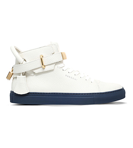 BUSCEMI 100mm padlock leather high-top trainers (White