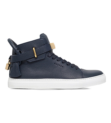 BUSCEMI 100mm padlock leather mid-top trainers (Navy