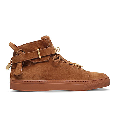 BUSCEMI 100mm suede high-top sneakers (Tan