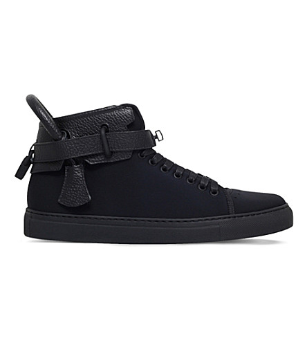 BUSCEMI 100mm neoprene and leather high-top trainers (Black