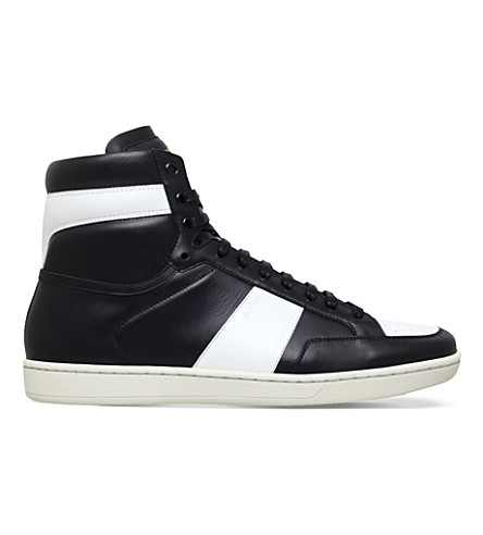 SAINT LAURENT SL/10H leather high-top trainers (Blk/white