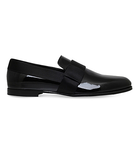 JIMMY CHOO John patent-leather slippers (Black