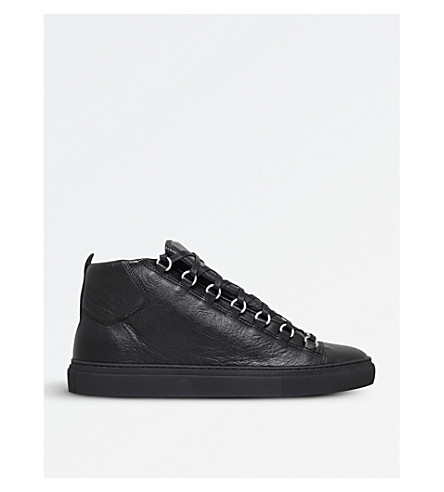 BALENCIAGA Arena leather high-top trainers (Black