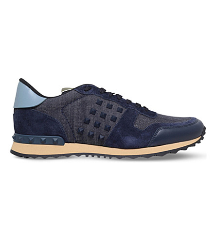 VALENTINO Studded denim, suede and leather trainers (Blue