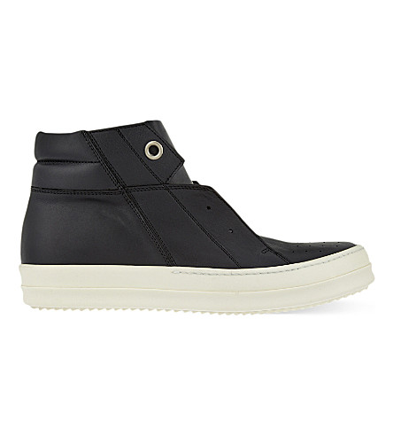 RICK OWENS Island dunk leather sneakers (Black