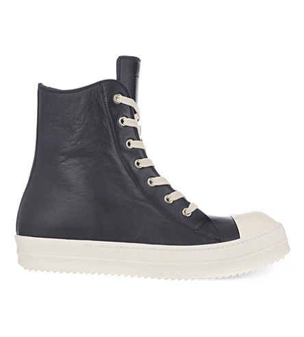 RICK OWENS Classic leather high-top trainers (Blk/white