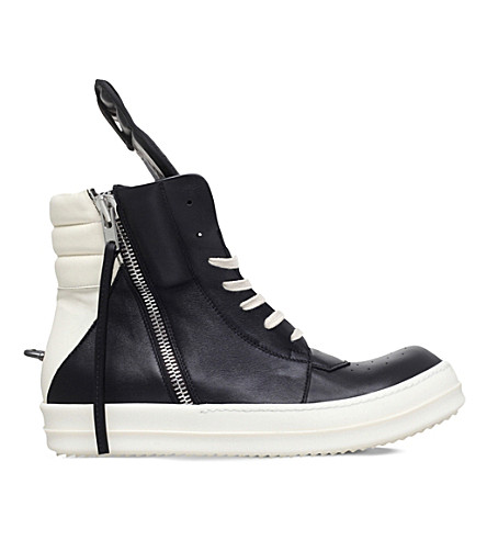 RICK OWENS Cyclops leather trainers (Blk/white