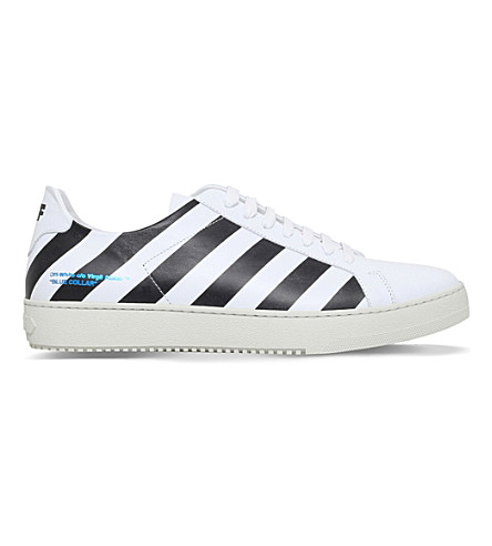OFF WHITE Striped low-top leather sneakers (White/blk