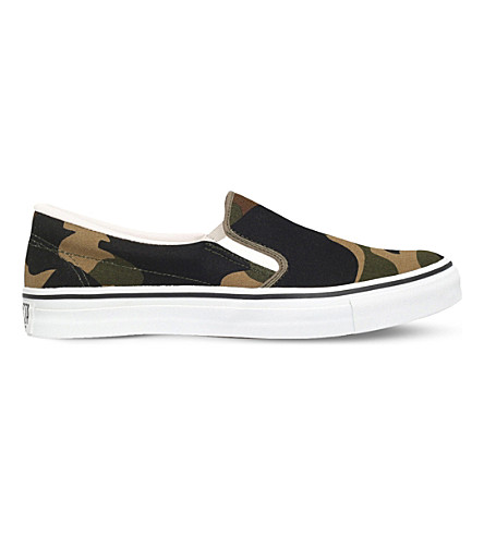 A BATHING APE Camouflage canvas skate shoes (Green+oth