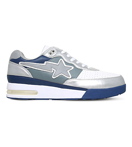 A BATHING APE Road Sta leather trainers (Silver