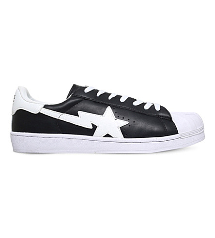 A BATHING APE Skull Sta leather trainers (Black