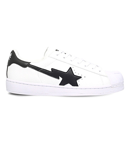 A BATHING APE Star-motif leather trainers (White