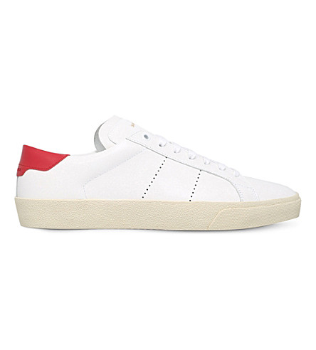 SAINT LAURENT Court classic leather trainers (White/red