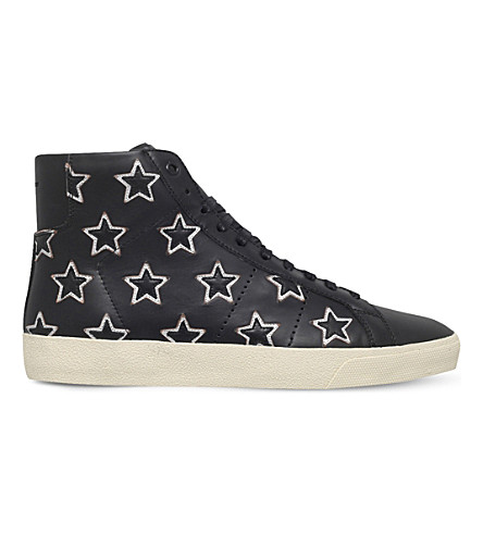 SAINT LAURENT California star-detail leather mid-top trainers (Black/comb