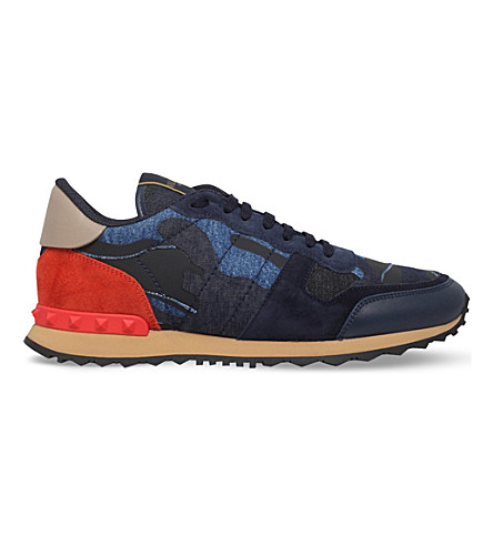 VALENTINO Camouflage leather, suede and denim trainers (Blue other