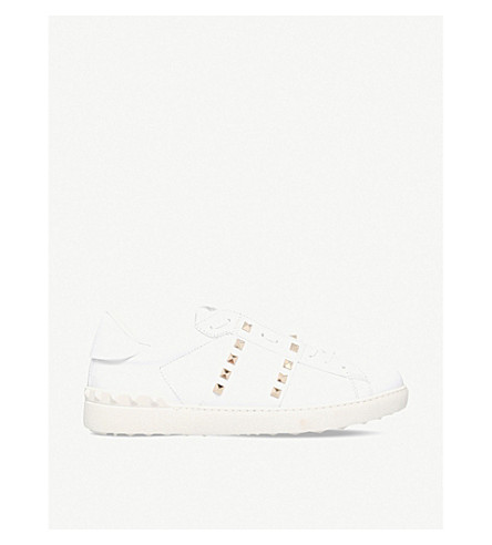 VALENTINO Tennis stripe stud leather trainers (White/comb