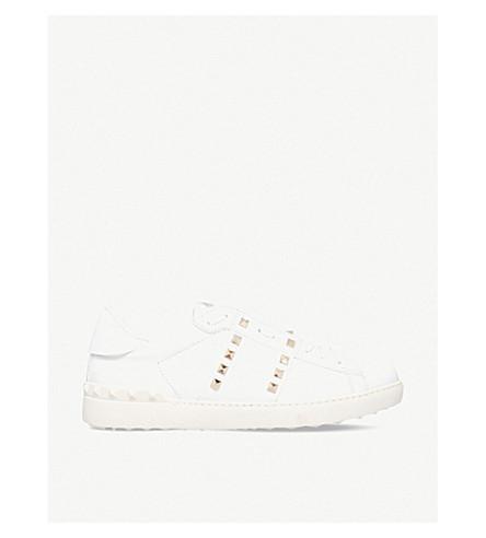 VALENTINO Tennis stripe stud leather sneakers (White/comb