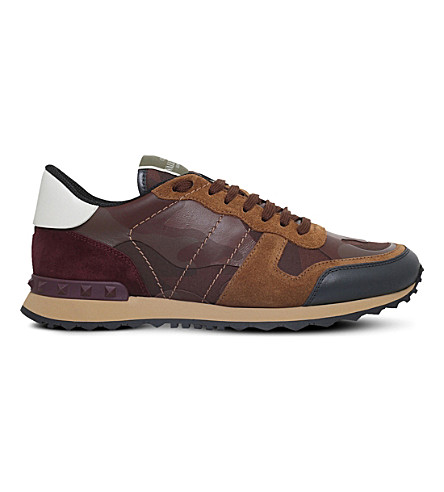 VALENTINO Camo leather trainers (Brown