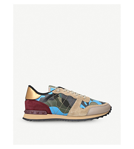 VALENTINO Camouflage-print leather trainers (Beige+oth
