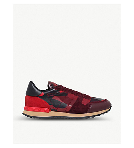 VALENTINO Camouflage leather and suede trainers (Red