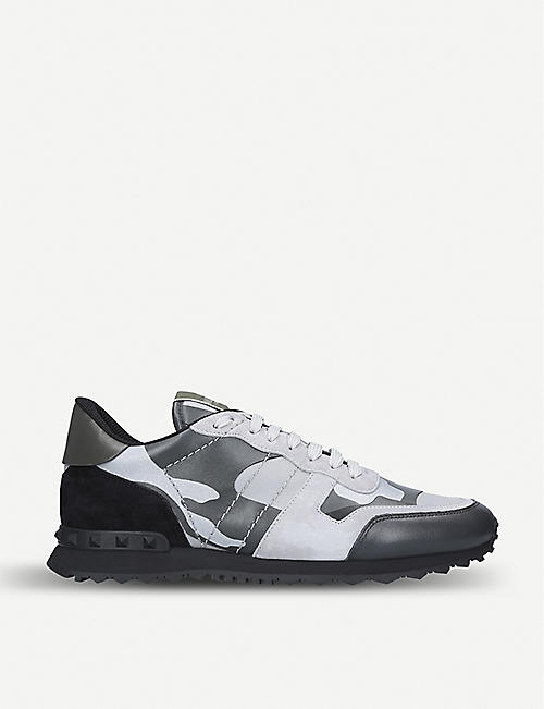 149d1a4a907d VALENTINO Rockrunner suede and leather sneakers