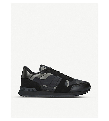 VALENTINO Full leather camo trainers (Silver+com