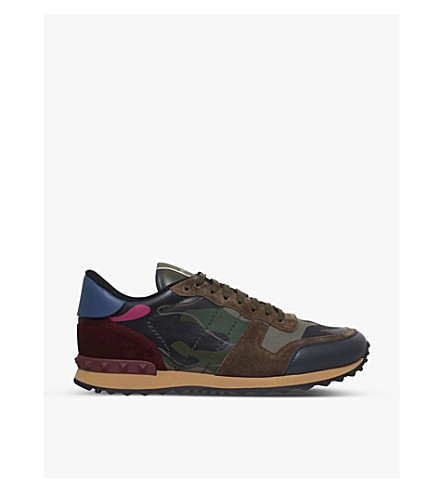 VALENTINO Full leather camo trainers (Green oth