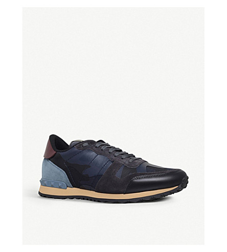 VALENTINO Camouflage leather and suede sneakers (Navy